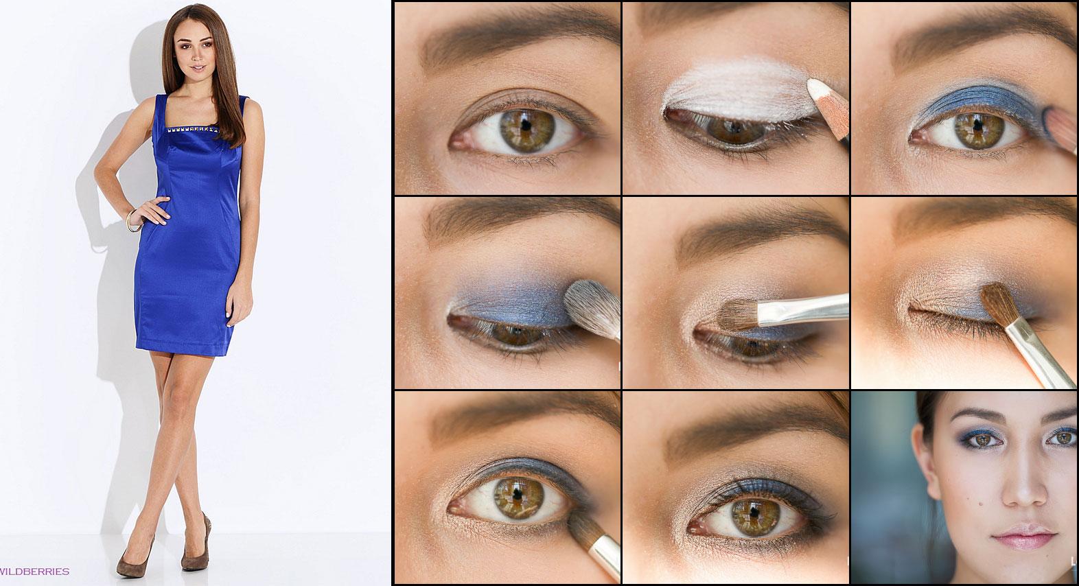 Макияж к синему платью фото для брюнеток