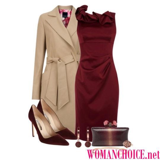 c3e97075cd Tenisky a batoh sú tiež vhodné pre burgundské príležitostné šaty strednej  dĺžky. Ak nosíte koženú bundu a čierny klobúk