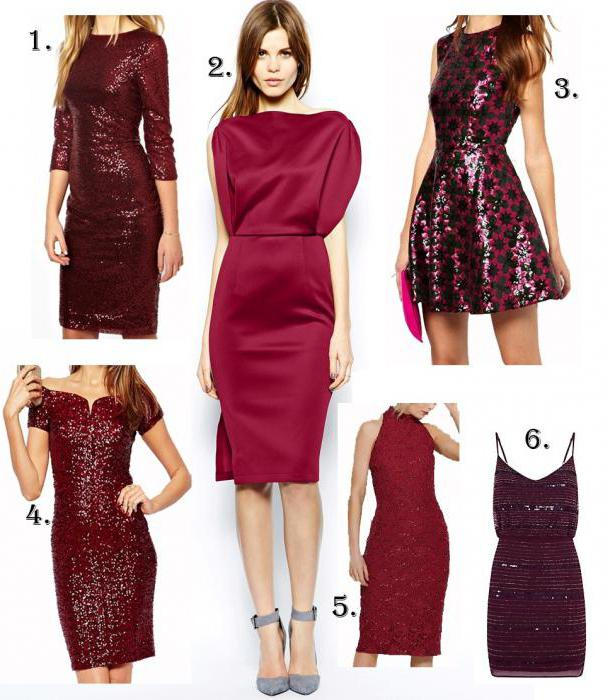 b4ceca58a1 Aké topánky zapadajú do vínovej šaty. Krátke burgundské šaty. Šaty ...