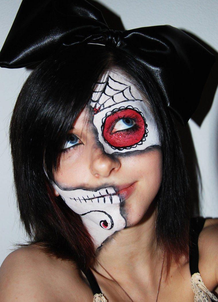 crno-bela šminka za noć veštica. igrajmo se u dekadenciji. lutkovna